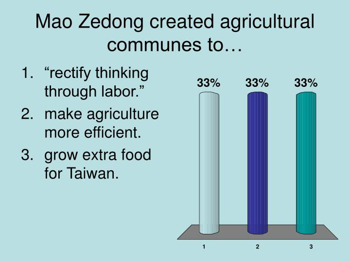 Mao Zedong created agricultural communes to…