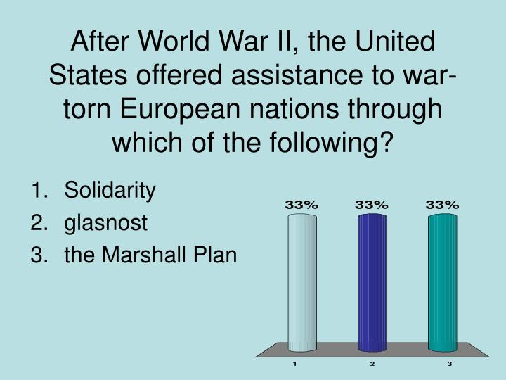After World War II, the United States offered assistance to war-torn European nations through which of the following?