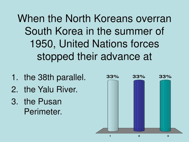 When the North Koreans overran South Korea in the summer of 1950, United Nations forces stopped their advance at