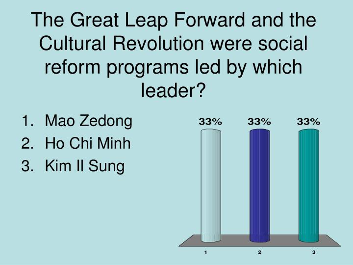 The Great Leap Forward and the Cultural Revolution were social reform programs led by which leader?