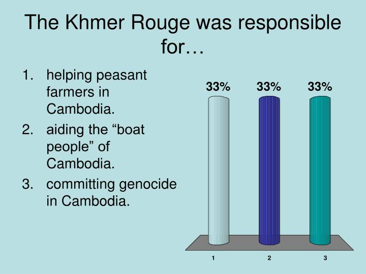 The Khmer Rouge was responsible for…