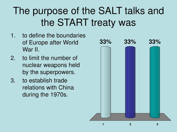 The purpose of the SALT talks and the START treaty was