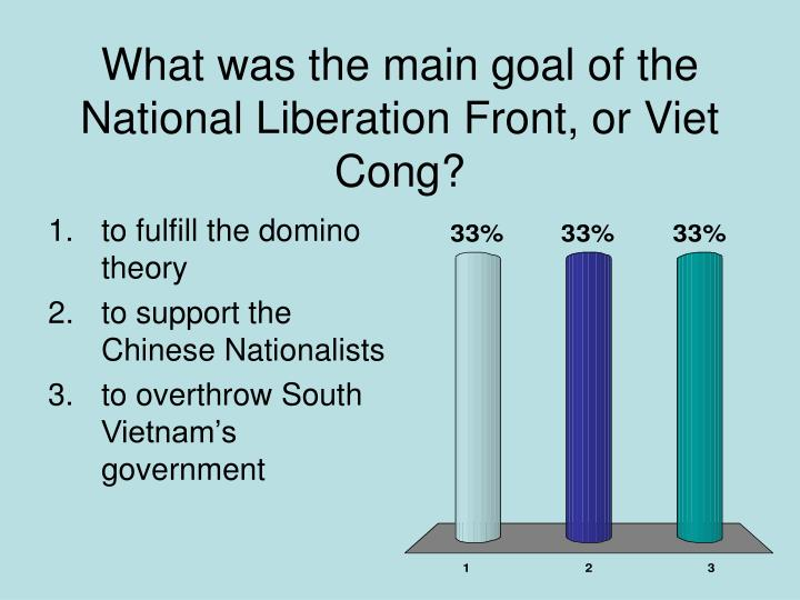 What was the main goal of the National Liberation Front, or Viet Cong?