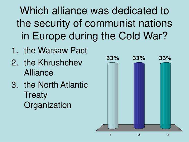 Which alliance was dedicated to the security of communist nations in Europe during the Cold War?