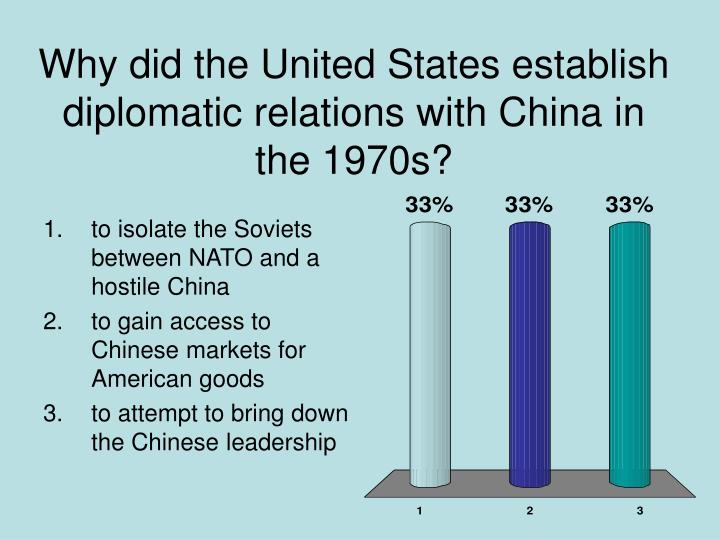 Why did the United States establish diplomatic relations with China in the 1970s?