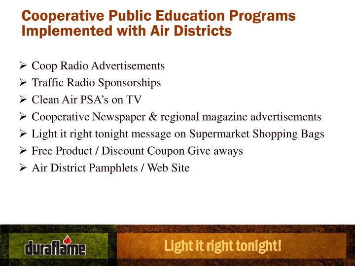 Cooperative Public Education Programs Implemented with Air Districts