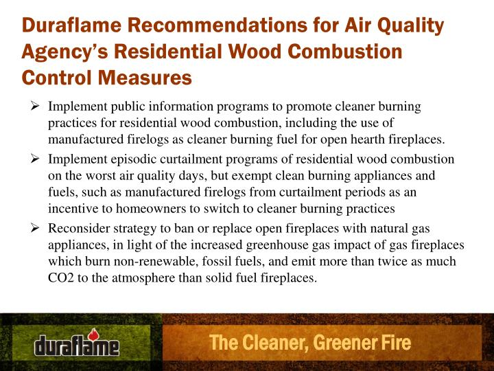 Duraflame Recommendations for Air Quality Agency's Residential Wood Combustion Control Measures