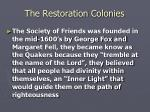 the restoration colonies17