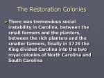 the restoration colonies9