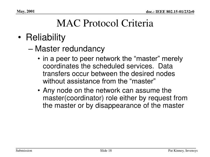 MAC Protocol Criteria