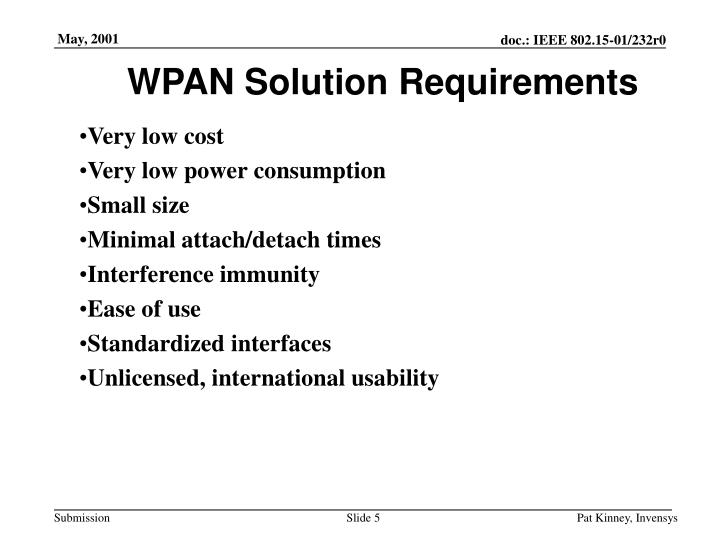 WPAN Solution Requirements