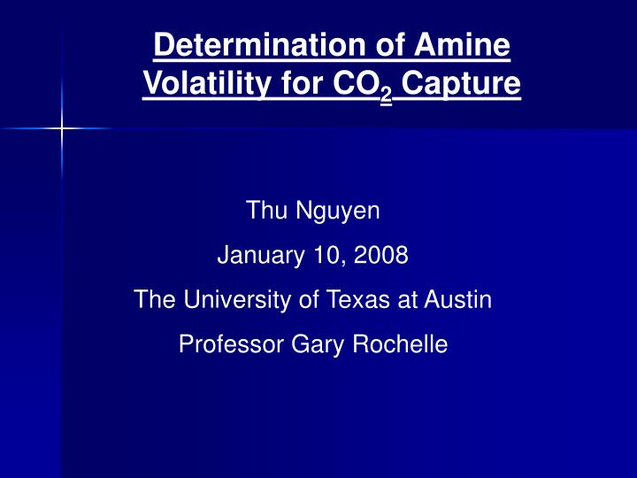 Determination of Amine Volatility for CO