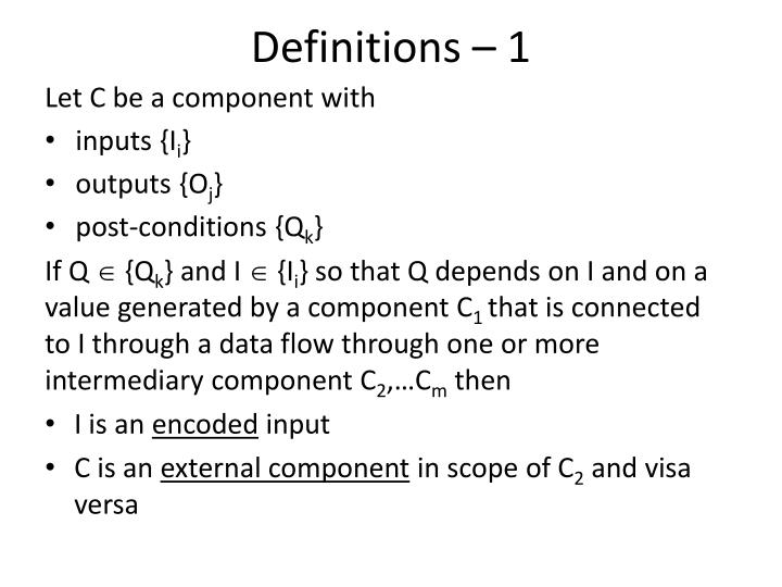 Definitions – 1