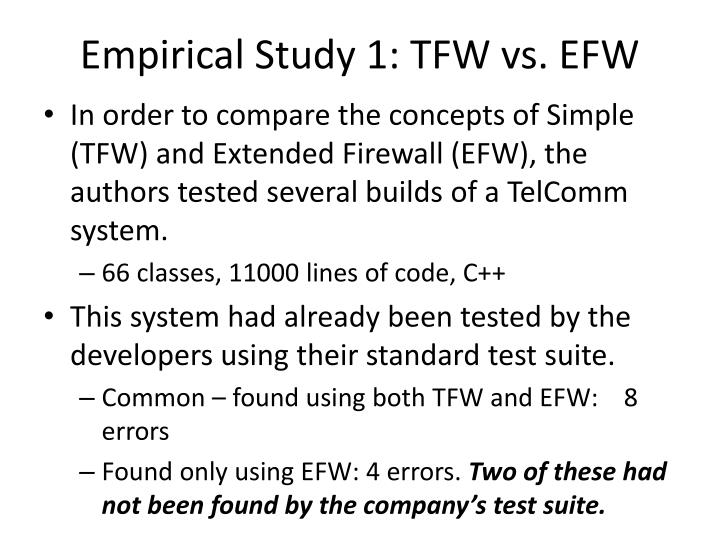 Empirical Study 1: TFW vs. EFW