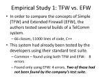 empirical study 1 tfw vs efw