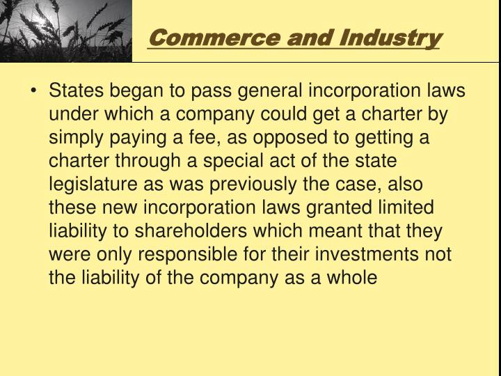 Commerce and Industry