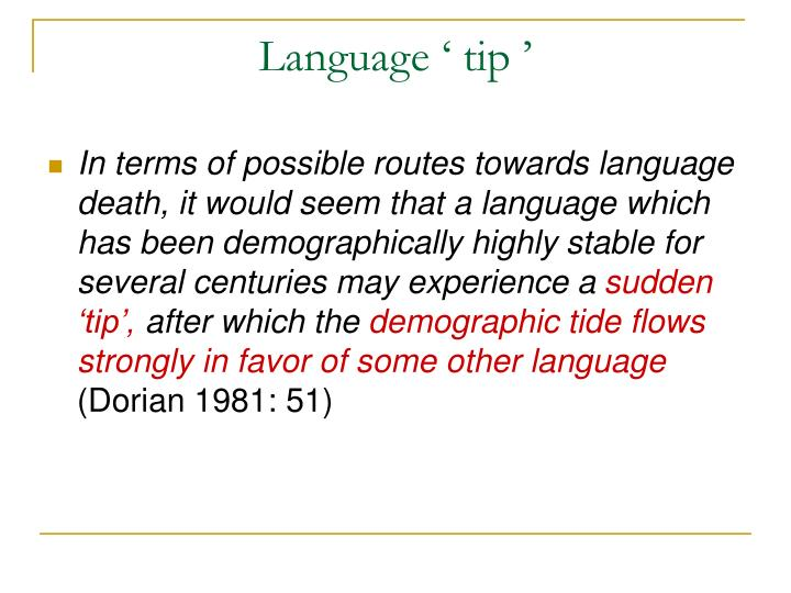 Language 'tip'