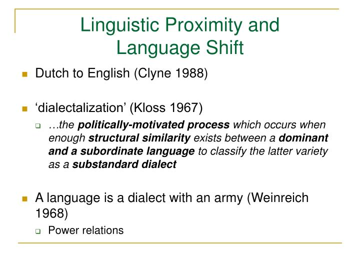 Linguistic Proximity and