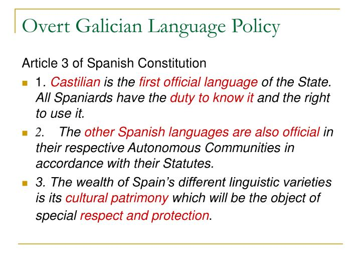 Overt Galician Language Policy