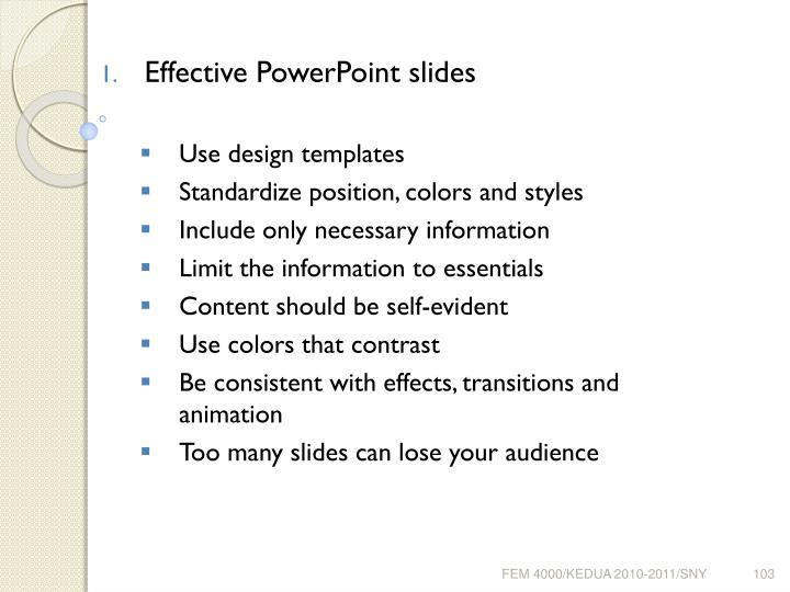 Effective PowerPoint slides