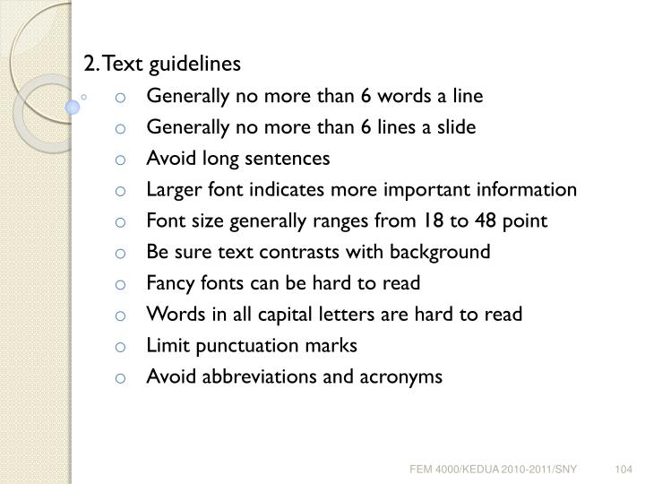2. Text guidelines