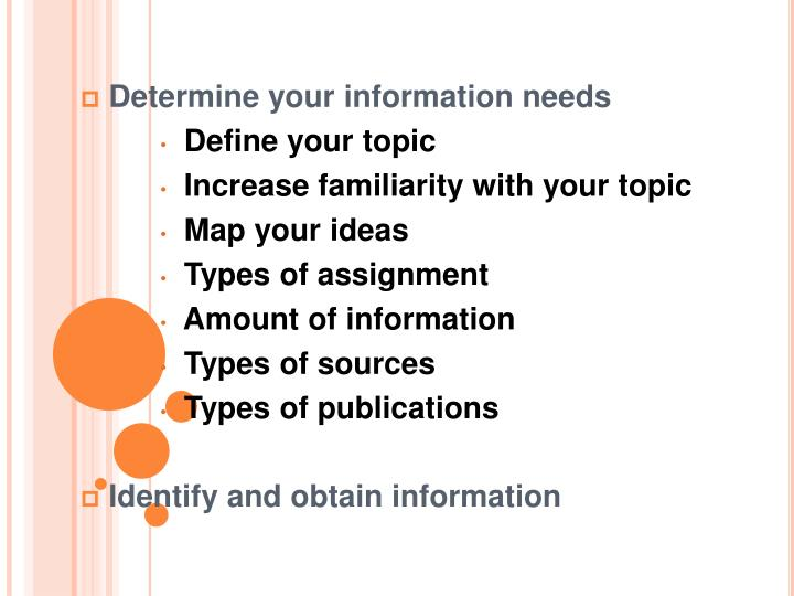 Determine your information needs