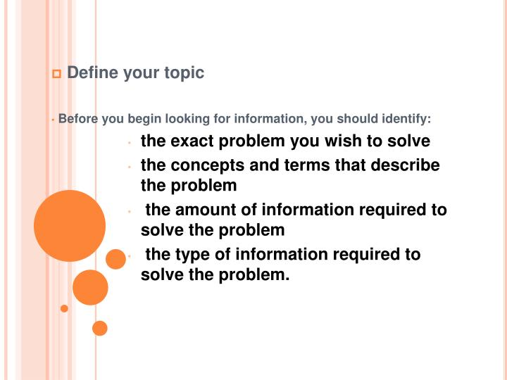 Define your topic