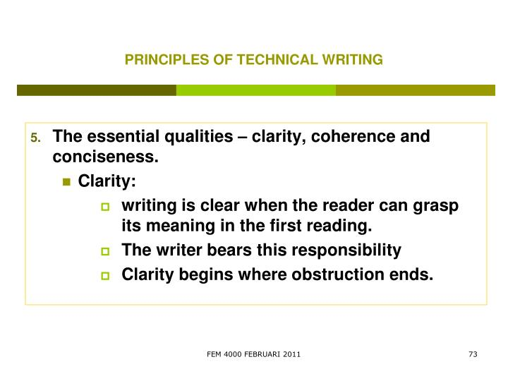 PRINCIPLES OF TECHNICAL WRITING