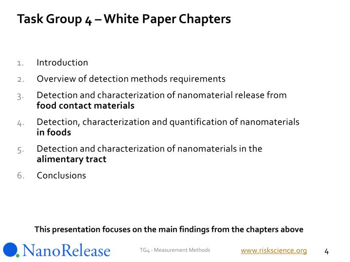 Task Group 4 – White Paper Chapters