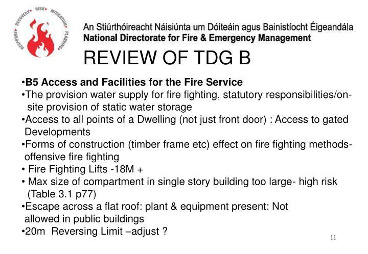 REVIEW OF TDG B