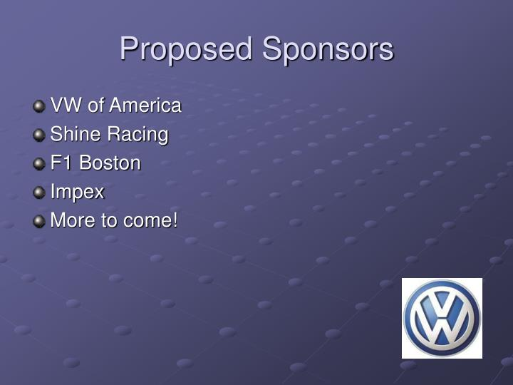 Proposed Sponsors