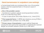 hand transmission in outpatient care settings