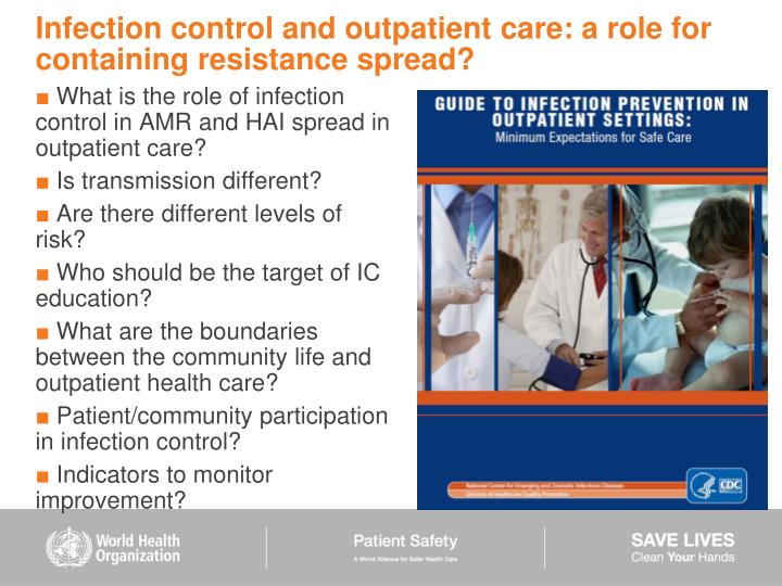 What is the role of infection control in AMR and HAI spread in outpatient care?