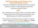 who hand hygiene self assessment framework global survey