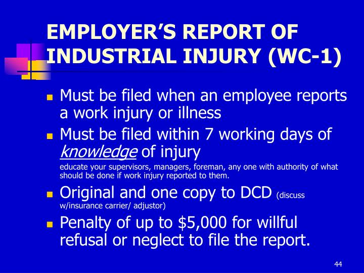 EMPLOYER'S REPORT OF INDUSTRIAL INJURY