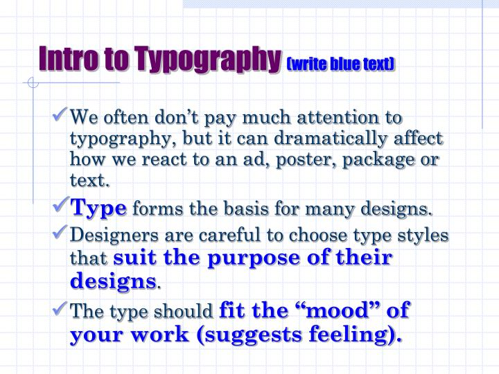 Intro to typography write blue text