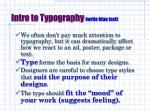 intro to typography write blue text