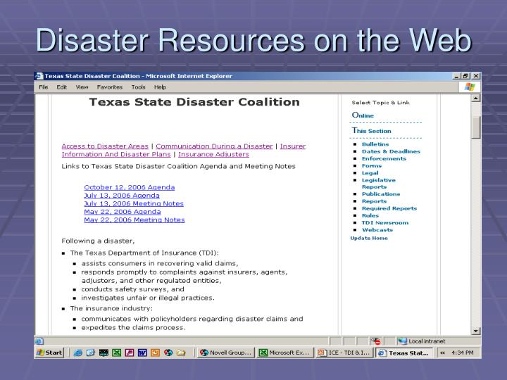 Disaster Resources on the Web