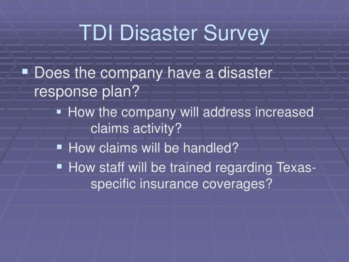 TDI Disaster Survey