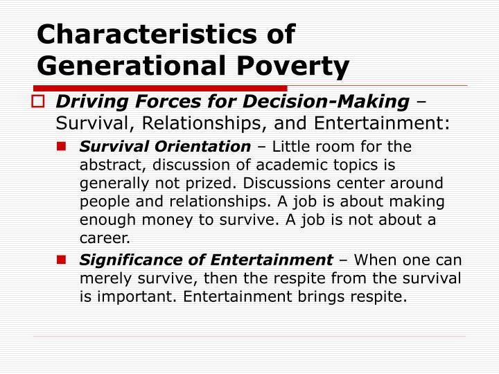 Characteristics of Generational Poverty