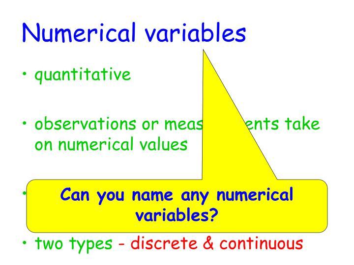 Numerical variables