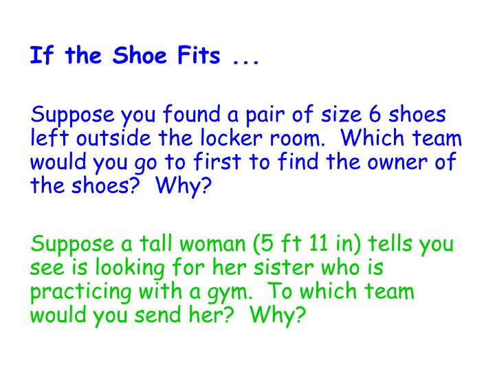 If the Shoe Fits ...
