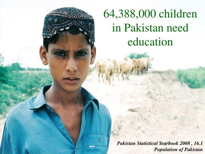 64,388,000 children in Pakistan need education