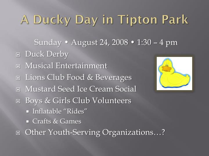 A Ducky Day in Tipton Park