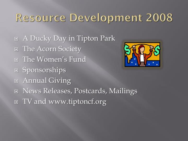Resource Development 2008