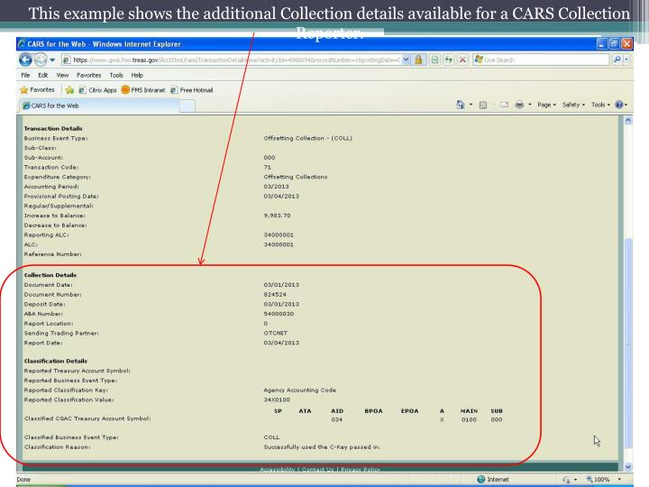 This example shows the additional Collection details available for a CARS Collection Reporter.