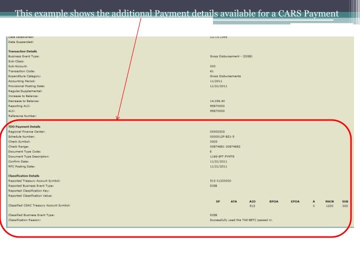 This example shows the additional Payment details available for a CARS Payment Reporter.