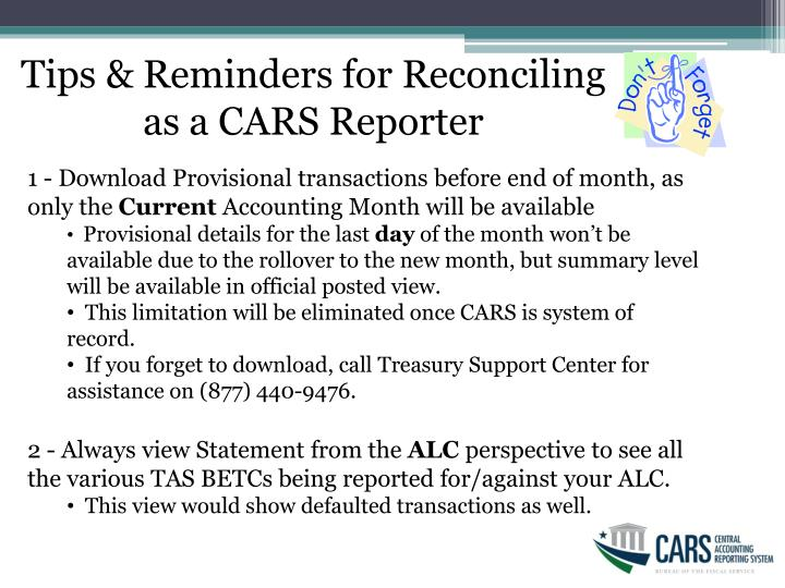 Tips & Reminders for Reconciling as a CARS Reporter
