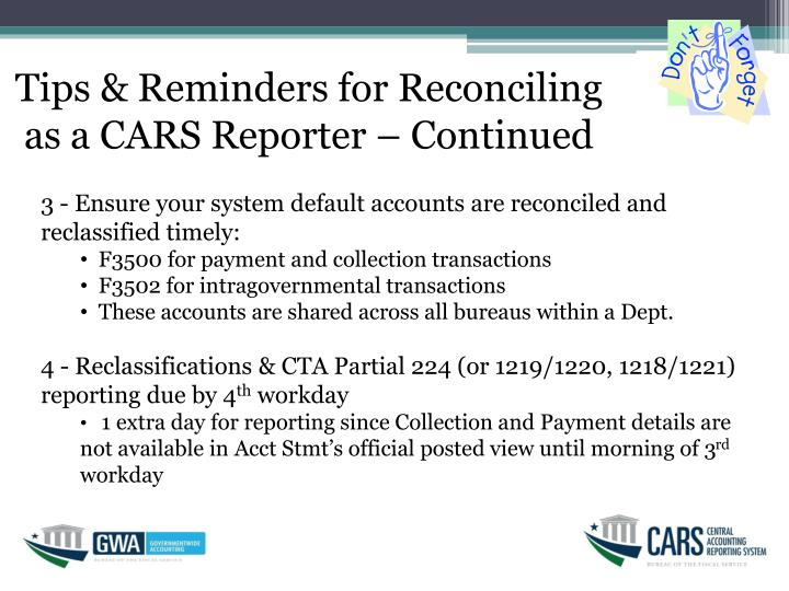 Tips & Reminders for Reconciling as a CARS Reporter – Continued