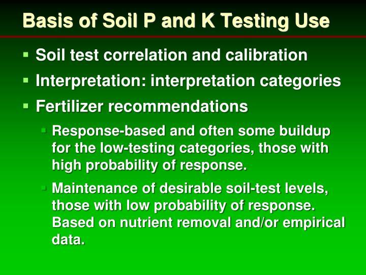 Basis of Soil P and K Testing Use
